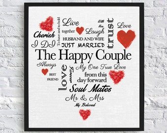 Heart Shaped Wedding Gift - Digital Download (Black and Red)