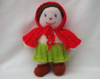 Hand knitted doll, Red Riding Hood