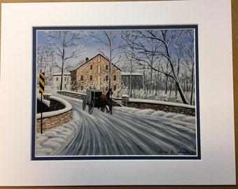 Brownstown Mill Oil Painting Print