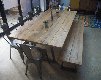 large rustic dining room table. Extra Large Rustic Dining Room Table and Bench dining table  Etsy