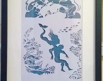Little Mermaid, Beautiful Gift, Wall-Decor, Fairy Tale, Happy Ever After, Handcut, Framed, Papercut, Artwork.