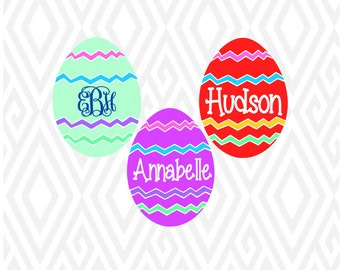 Monogram Easter Egg Cuttable Design in SVG; DXF; PNG; Ai; Pdf; Eps
