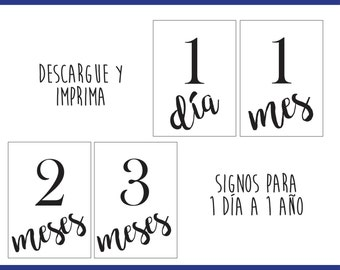 Printable Baby Milestones in Spanish - Download and Print - Signs for 1 day to 1 year