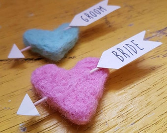 Personalised Wedding Name Place Felt Cupids Arrow Heart X10