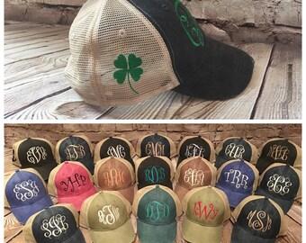 Monogram hat with clover, shamrock, women monogram hat, monogram hat, hat, cap, trucker hat, monogram trucker hat, women hat, shamrock