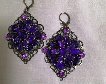 SOLD.............Jeweled Pierced Dangled Earrings in Purples