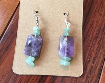 Amethyst and aventurine earrings