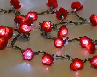 Fairy Lights ; Red flowers; string lights; garland;  LED Battery operated