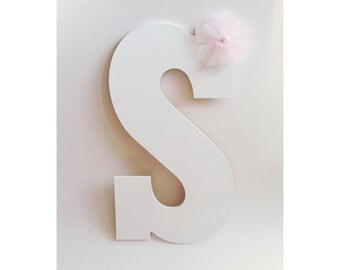 Painted Letters, Pink and White, Wooden Letters, Nursery Decor