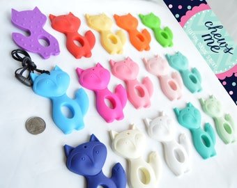 Large fox silicone teether teething necklace nursing necklace sensory necklace chew necklace boys girls toddler baby Autism ADHD biting