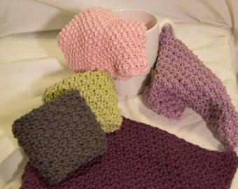 Hand knit Cotton Wash Cloths - Set of 3
