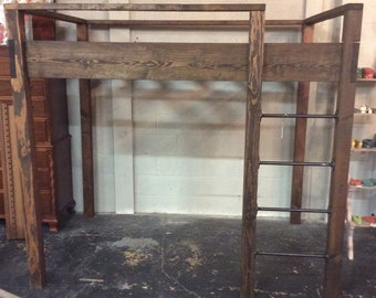 Handcrafted Industrial Loft Bed