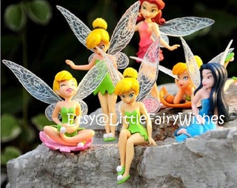Tinkerbell and friends 6 piece set Fairy garden figures Tinkerbell cake toppers fairy garden decor Tinkerbell cake topper