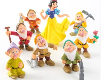 Snow White and the Seven Dwarfs action figure cake toppers 8 pcs sparkly snow white birthday party collectible fairy garden