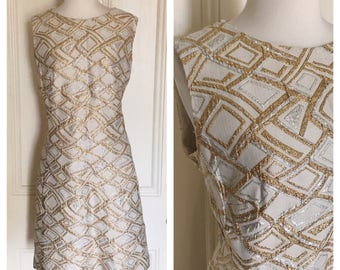 Vintage 60's Fitted Ivory Gold Silver Wiggle Dress