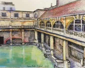 Original Watercolor Painting of Roman Baths, England - 8 x 11 inches