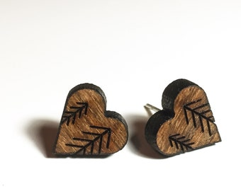 TreeHugger Engraved Wood Stud Earrings