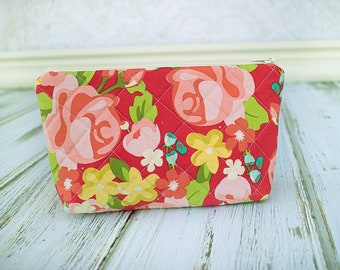 Quilted Zipper Pouch, Cosmetic Case, Make Up Bag, Red Floral