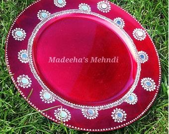 Henna inspired mehndi plates/thaals