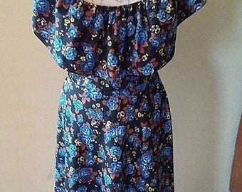Samuel Blue Floral Ruffled Party Dress