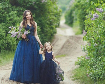 Mother daughter matching train lace navy lace dress for photoshoot  Flared lace dress princess dress Ball gown Photo session floor length