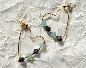 Big Gold Heart Earrings, Purple and Blue Green Crystal Earrings, Gold Dangle Earrings