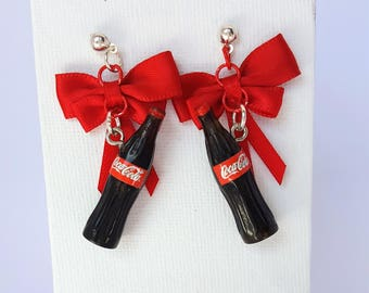 Coca-Cola Coke Bottle Earrings with Red Bows Jewellery Jewelry