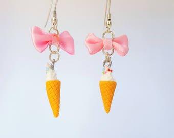 Retro Kitsch Mini Ice Cream Cone with Pink Bow Dangle Earrings Jewellery Jewelry Cosplay Kawaii