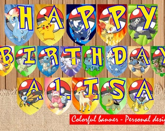 Pokemon PERSONAL DESIGN| Pokemon Go printable Banner| Pikachu| Pokemon Banner Instant download