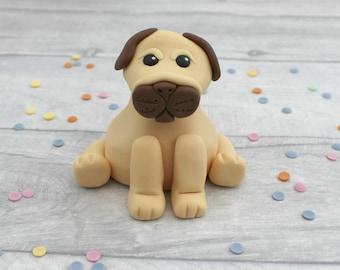 SALE Pug cake topper, fondant dog cake decoration, birthday cake topper, dog model, edible pug cake topper, sugarpaste figure, dog lover,