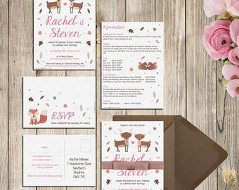 Woodland Animals Wedding Invitations, RSVPs or Information Cards - Deer, Stag, Fox, Squirrel