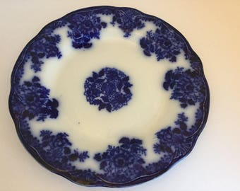Antique Flow Blue Dinner Plate~Waldorf Pattern~New Wharf Pottery, England c. 1894
