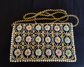 Black velvet metallic embroidered handbag with semi-precious stones Zardozi India floral embroidered evening bag embroidered clutch