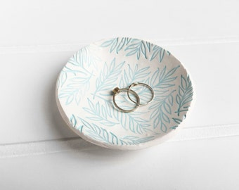 Blue Floral White Ring Dish