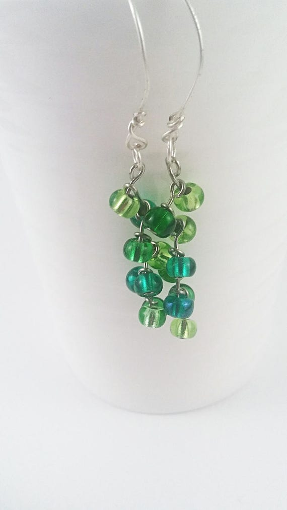 Green cascade drop earrings, earrings, jewelry, spring birthday gift, something green, earrings, gift for her, cascading jewelry, green gift