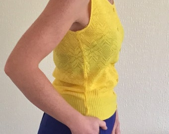 Sunshine yellow hand made top size 10/12