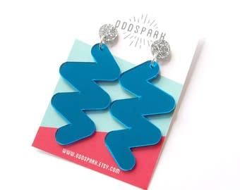 Thick Zig Zag Earrings in Blue Mirror and Silver Glitter Acrylic