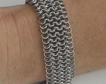 European 4 in 1 weave mat silver coloured chainmaille bracelet. Cuff bracelets. Wide bracelets. Lightweight. Rainbow. Tessa's chainmail
