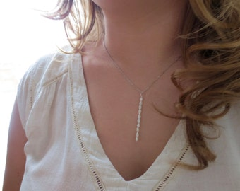 Pearl Bar Necklace Genuine Tiny Pearls