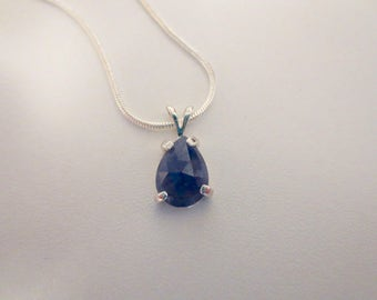Reserved for C DO NOT BUY ~ 100% Natural Untreated Blue Sapphire Gemstone  Rose Cut Pear  Slice Sterling Silver Pendant Necklace