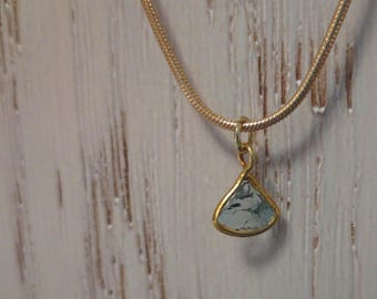 Rough Blue Conflict Free Diamond Slice Sterling Silver Gold Plated Pendant Necklace ~ 7mm x 8mm Blue Diamond Slice