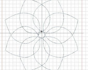"""Embroidery file """"Petal flower"""" quilt and AcuFil tool"""