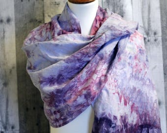 Hand-dyed Button Watercolor Scarf - Blackberries