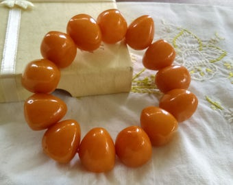 Genuine Butterscotch Baltic Amber Chunky Bead  Stretch Bracelet