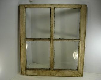 vintage window sash antique farmhouse 4 pane frame distressed picture 28x25 1
