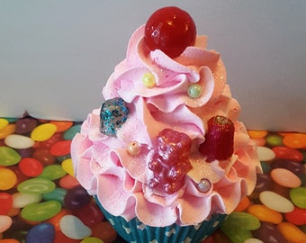 Fake Cupcake, Candy Decor, Sprinkles, Gummy Bears, Gumdrops, and Red Gumball on Top, Candy Land Birthday Party Fake Cupcakes, Props