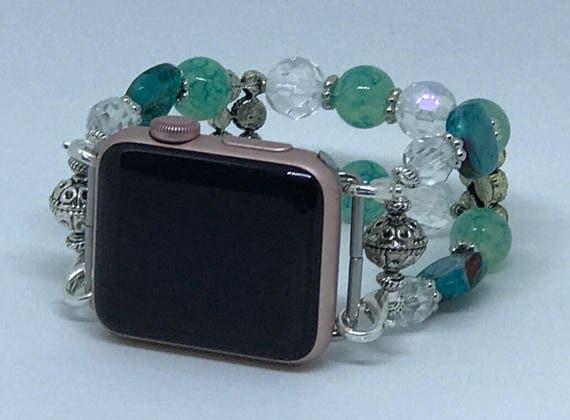"""Apple Watch Band, Women Bead Bracelet Watch Band, iWatch Strap, Apple Watch 38mm, Apple Watch 42mm, Sea Blue Green, Crystal Size 6 3/4"""" - 7"""""""