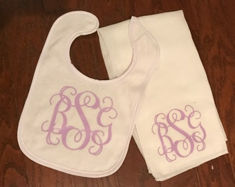 Personalized burp cloth and bib set