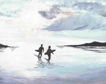 Surfers Walking with Sunset - Watercolor and ink print, sunset silhouette, surfer watercolor, surfer silhouette, surf art, beach painting