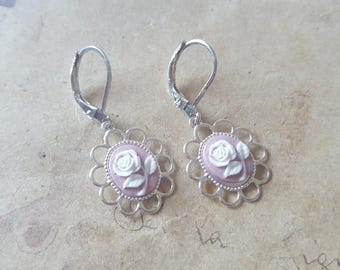 Roses gems earrings ~ silver ~